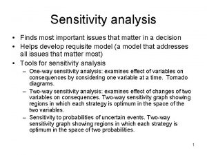 Sensitivity analysis Finds most important issues that matter