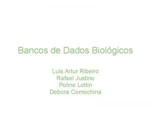 Bancos de Dados Biolgicos Luis Artur Ribeiro Rafael