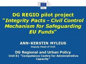 DG REGIO pilot project Integrity Pacts Civil Control