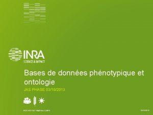 Bases de donnes phnotypique et ontologie JAS PHASE