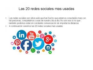 Las 20 redes sociales mas usadas Las redes