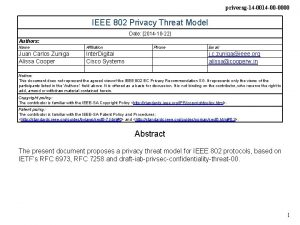 privecsg14 00 0000 IEEE 802 Privacy Threat Model