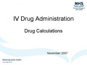 IV Drug Administration Drug Calculations November 2007 Drug