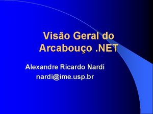 Viso Geral do Arcabouo NET Alexandre Ricardo Nardi