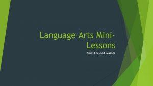 Language Arts Mini Lessons Skills Focused Lessons Linking