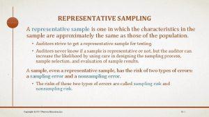 REPRESENTATIVE SAMPLING A representative sample is one in