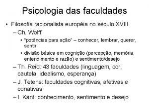 Psicologia das faculdades Filosofia racionalista europia no sculo