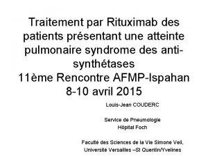 Traitement par Rituximab des patients prsentant une atteinte