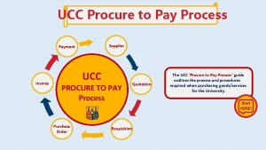 UCC Procure to Pay Process Supplier Payment Invoice