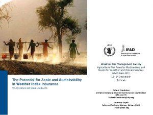 Weather Risk Management Facility Agricultural Risk Transfer Mechanisms
