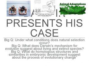 DARWIN PRESENTS HIS CASE Big Q Under what