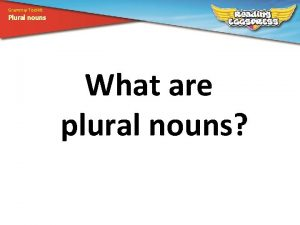 Grammar Toolkit Plural nouns What are plural nouns