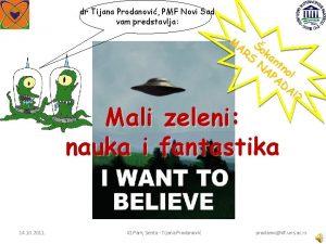 dr Tijana Prodanovi PMF Novi Sad vam predstavlja