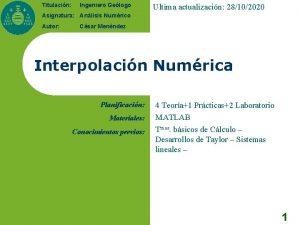 Titulacin Ingeniero Gelogo Ultima actualizacin 28102020 Asignatura Anlisis