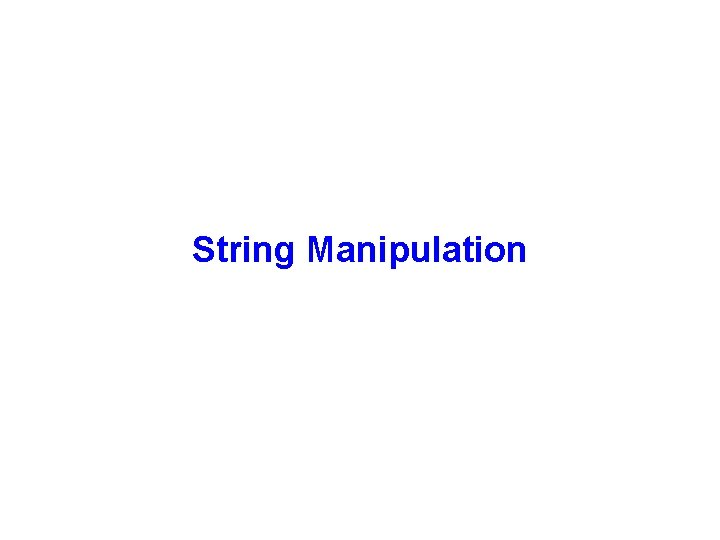String Manipulation Java String class The String class