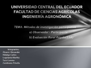 TEMA Mtodos de investigacin participativa a Observador Participante