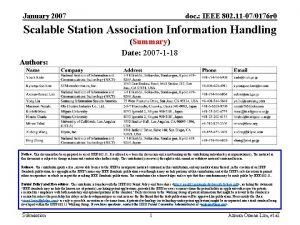 January 2007 doc IEEE 802 11 070176 r