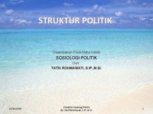 STRUKTUR POLITIK Disampaikan Pada Mata Kuliah SOSIOLOGI POLITIK