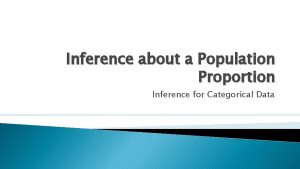 Inference about a Population Proportion Inference for Categorical