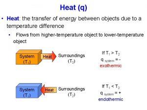Heat q Heat the transfer of energy between