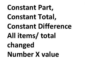 Constant Part Constant Total Constant Difference All items