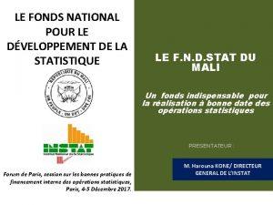 LE FONDS NATIONAL POUR LE DVELOPPEMENT DE LA