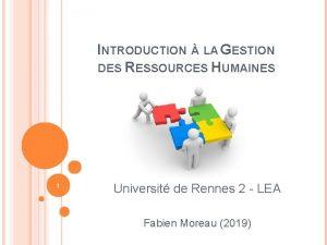INTRODUCTION LA GESTION DES RESSOURCES HUMAINES 1 Universit