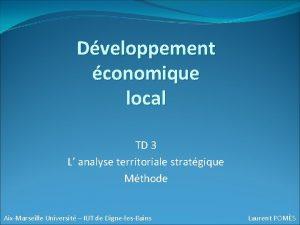 Dveloppement conomique local TD 3 L analyse territoriale