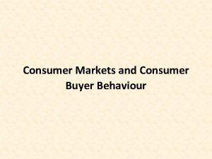 Consumer Markets and Consumer Buyer Behaviour Session Outline