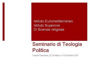 Istituto Euromediterraneo Istituto Superiore Di Scienze religiose Seminario