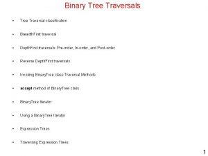 Binary Tree Traversals Tree Traversal classification Breadth First