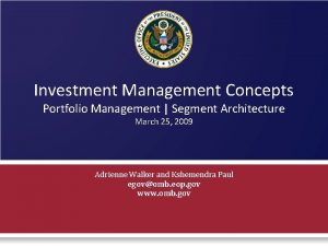 Investment Management Concepts Portfolio Management Segment Architecture March