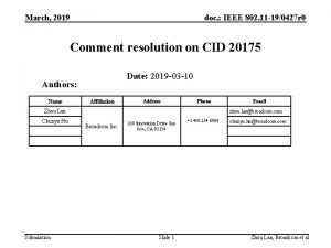 March 2019 doc IEEE 802 11 190427 r