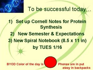 To be successful today 1 Set up Cornell