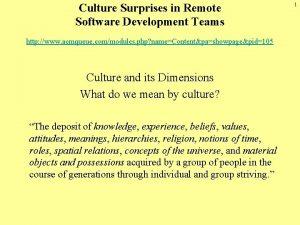 Culture Surprises in Remote Software Development Teams http