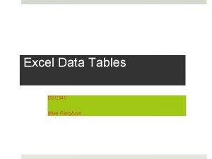 Excel Data Tables DSC 340 Mike Pangburn Excel