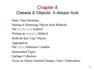Chapter 8 Classes Objects A deeper look Static