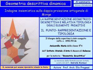 Geometria descrittiva dinamica Al sommario Ritorno a Introduzione