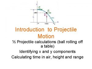 Introduction to Projectile Motion Projectile calculations ball rolling