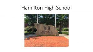 Hamilton High School History Established 1895 Originally an