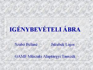 IGNYBEVTELI BRA Szab Bln Jakubek Lajos GAMF Mszaki