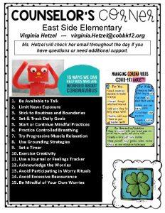 East Side Elementary Virginia Hetzel virginia Hetzelcobbk 12
