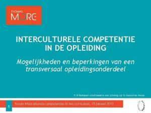 INTERCULTURELE COMPETENTIE IN DE OPLEIDING Mogelijkheden en beperkingen