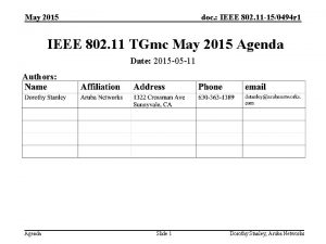 May 2015 doc IEEE 802 11 150494 r