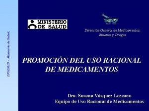 DIGEMID Ministerio de Salud Direccin General de Medicamentos