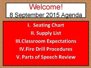 Welcome 8 September 2015 Agenda I Seating Chart