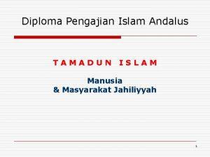 Diploma Pengajian Islam Andalus TAMADUN ISLAM Manusia Masyarakat