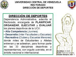 UNIVERSIDAD CENTRAL DE VENEZUELA RECTORADO DIRECCIN DE DEPORTES
