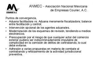 ANMEC Asociacin Nacional Mexicana de Empresas Courier A