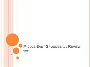 MIDDLE EAST GRUDGEBALL REVIEW Unit 4 THE MIDDLE